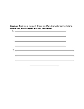 Nonverbal Communication Worksheet