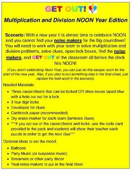 Noon Year (New Year's) Escape Activity- 4th Grade Math Skills