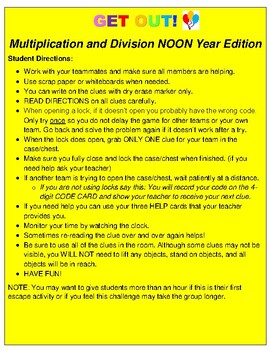 Noon Year (New Year's) Escape Classroom Activity- 3rd Grade Skills