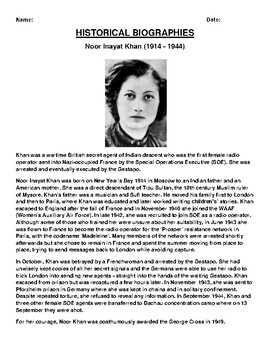 Noor Inayat Khan  Biography Article and (3) Assignments