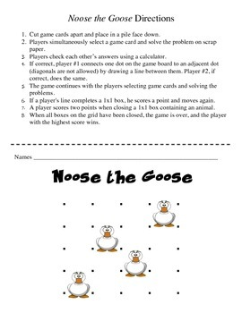Noose the Goose - A 2-Player Game to Practice Multiplying by a 1-Digit Number