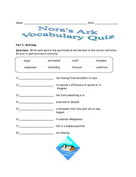 McGraw Hill Wonders - 3rd Grade - Nora's Ark Vocabulary Resources