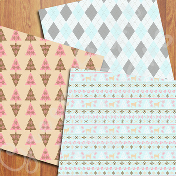 Nordic Christmas Digital Papers / Christmas Backgrounds / Scandinavian Papers