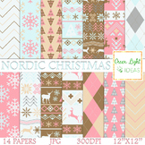 Nordic Christmas Digital Papers / Christmas Backgrounds /