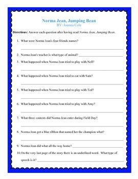 Norma Jean, Jumping Bean- Worksheets