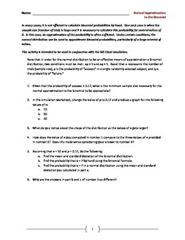 Normal Approximation to the Binomial Worksheet