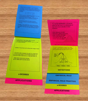 Normal Distribution Flip Book Foldable Organizer with Practice Problems