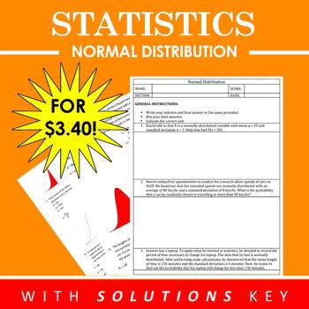Normal Distribution Worksheet and Solution Key