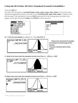 normal distribution on ti 83 and ti 84 handout worksheets by joan kessler. Black Bedroom Furniture Sets. Home Design Ideas