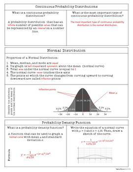 Normal Probability Distributions - INB Activities & Scaffolded Notes