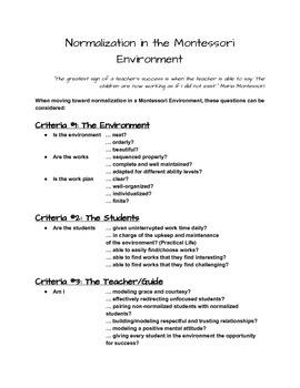 Normalization in the Montessori Environment (Checklist)