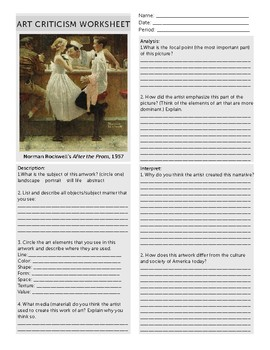 """Norman Rockwell """"After the Prom"""" Art Criticism Worksheet"""