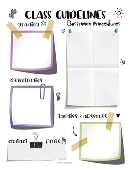 Normas de la clase/Classroom Procedures Notes Sheet