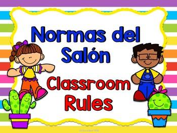 Normas del salón- cactus (Classroom rules bilingual)