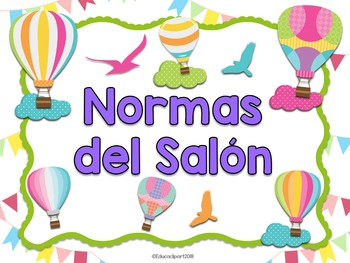 Normas del salón - globos aerostáticos (Spanish classroom rules hot air balloon)
