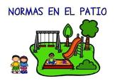 Normas en el patio (carteles) / Rules in the yard (posters in SPANISH)