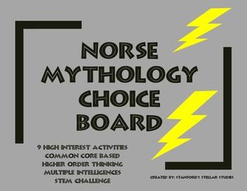 Norse Mythology Unit Choice Board Menu Rubric ELA STEM Common Core