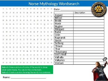 Norse Mythology Wordsearch Sheet Cartoon Starter Activity Vikings History