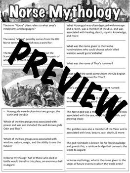 Norse Mythology Worksheet