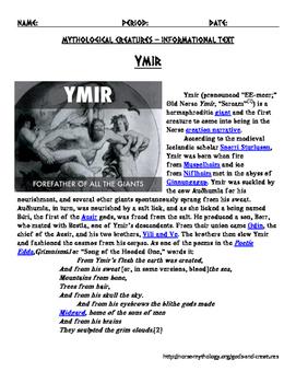 Norse Myths Ymir, Yggdrasil, Norns, Sleipnir, Skol and Hati, Ask and Embla