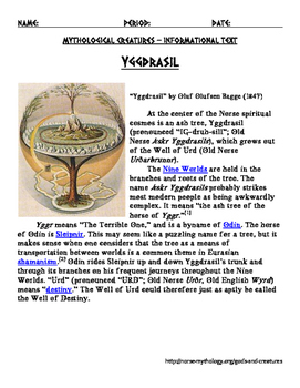 Norse Myths Ymir, Yggdrasil, Norns, Sleipnir, Skol and Hati, Ask and Embla