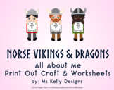 Norse Vikings & Dragons All About Me Print Out Craft and Worksheets