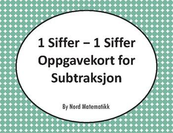 Norsk: 1 Siffer Oppgavekort for Subtraksjon