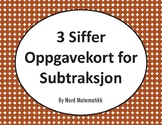 Norsk: 3 Siffer Oppgavekort for Subtraksjon