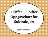 Norsk: 2 Siffer - 1 Siffer Oppgavekort for Subtraksjon