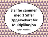 Norsk: 3 Siffer sammen med 1 Siffer Oppgavekort for Multiplikasjon