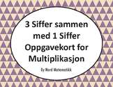 Norsk: 3 Siffer sammen med 1 Siffer Oppgavekort for Multip