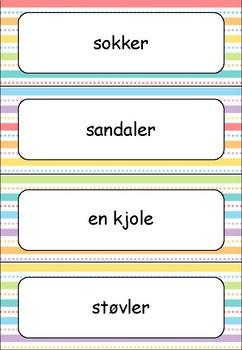 Norsk 2 - tema KLÆR - ord- og bildekort