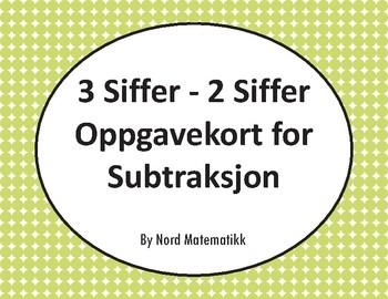 Norsk: 3 Siffer - 2 Siffer Oppgavekort for Subtraksjon