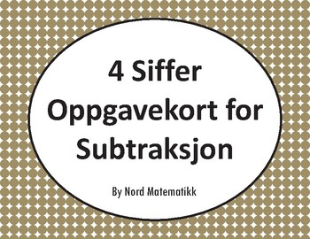 Norsk: 4 Siffer Oppgavekort for Subtraksjon