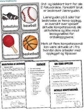 Norsk: Ballidrett utstyr - lese- og skriveopplæring [BM & NN]