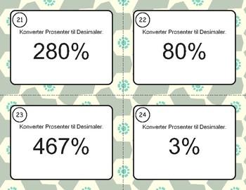 Norsk: Desimaler og Prosenter Oppgavekort