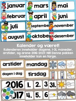 Norsk Klasseromsdekor - Blå pakke - Merkelapper, kalender, været, fag [BM&NN]