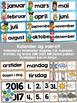 Norsk Klasseromsdekor - Blå pakke - Merkelapper, kalender,