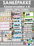 Norsk Klasseromsdekor FULL pakke - Merkelapper, kalender,
