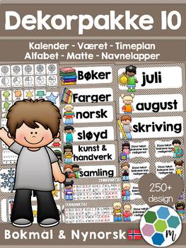 Norsk Klasseromsdekor - Gråbrun - Merkelapper, kalender, v