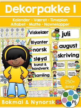 Norsk Klasseromsdekor - Gul pakke - Merkelapper, kalender, været, fag [BM&NN]