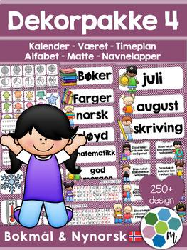 Norsk Klasseromsdekor - Lilla pakke - Merkelapper, kalende