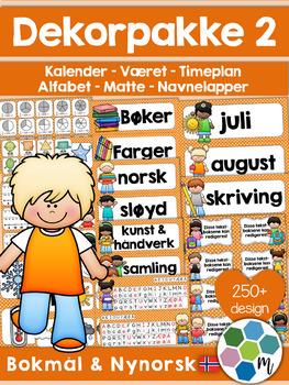 Norsk Klasseromsdekor - Oransje pakke - Merkelapper, kalen