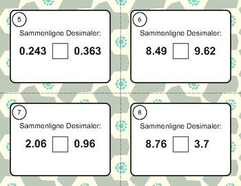 Norsk: Sammenligne Desimaler Oppgavekort