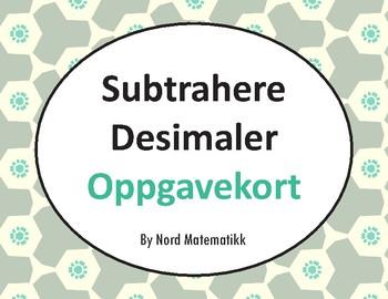 Norsk: Subtrahere Desimaler Oppgavekort