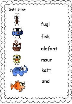 Norsk - lese- og skriveopplæring - dyr 1