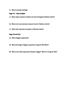 Prentice Hall World Geography - North Africa Map Activity