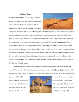 North Africa Summary Worksheet Test and Answer Key