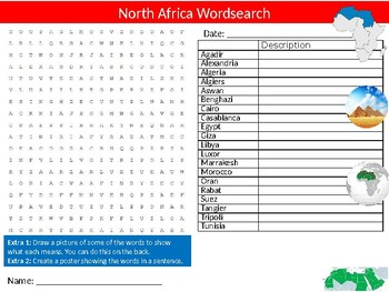 North Africa Wordsearch Puzzle Activity Starter Sheet Geography Countries