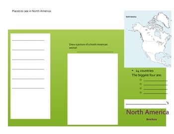 North America Activity (Make a Brochure)